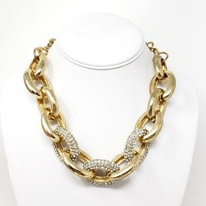 INC Gold Toned Chunky Pave Link Statement Necklace